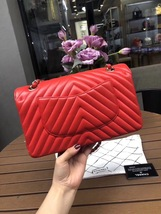 100% AUTH Chanel RARE Coral Red Lambskin Chevron Medium Double Flap Bag SHW image 4