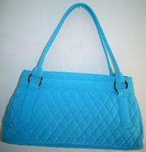 Retired Vera Bradley Blue Microfiber Shoulder Bag Purse - £19.90 GBP