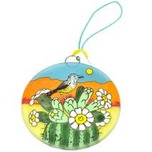 Desert Sunset & Cactus Design Fused Art Glass Ornament Handmade in Ecuador image 1