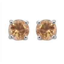 Genuine Citrine Gemstone 925 Sterling Silver Stud Earring For Womens - $20.43