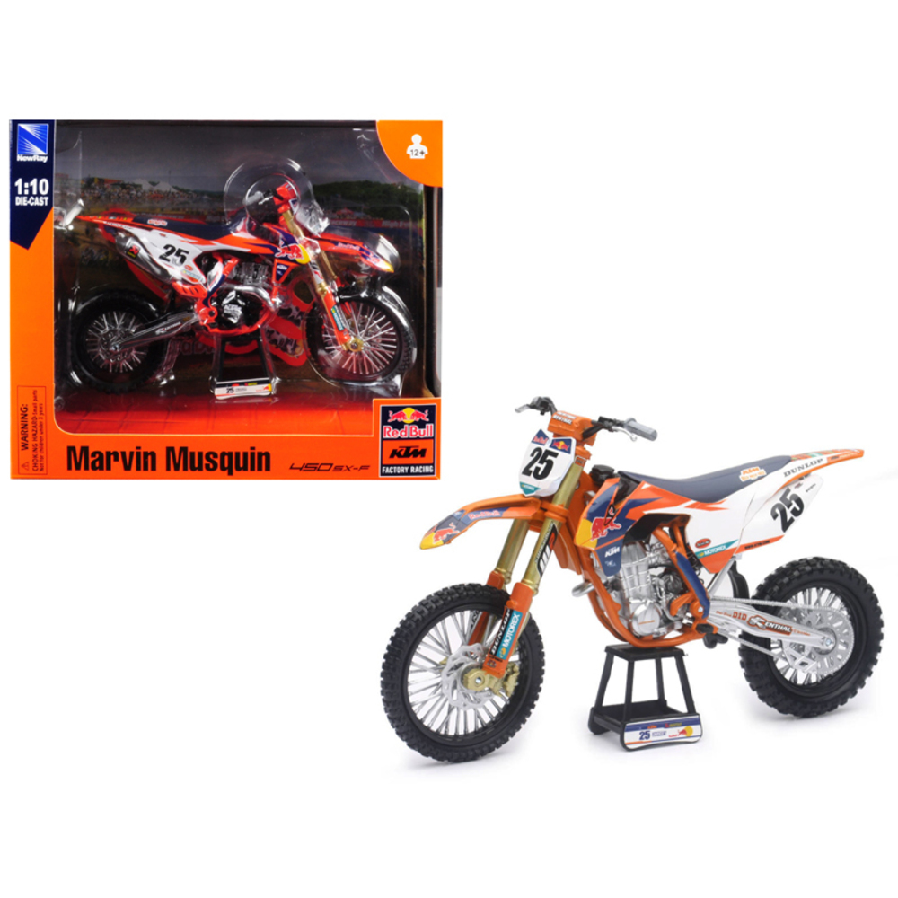 KTM 450 SX-F #25 Marvin Musquin Red Bull Factory Racing 1/10 Diecast Motorcycle