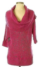 Womens Elle Pink Cowl Neck Sequin Shimmer 3/4 Sleeve Pullover Sweater XS... - $18.49