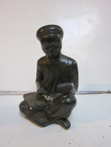VINTAGE PLASTER CHINESE YOUNG MAN READING BOOK WITH ABACUS ON LAP STATUE - $9.99