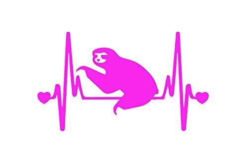 "Primary image for StickerDad Sloth V2 Heartbeat Lifeline Vinyl Decal (Size: 7"", Color: HOT PINK) f"