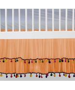 Orange Chiffon Pom Pom Layered Ruffled Crib Skirt / Mini Crib Skirt - $44.99+