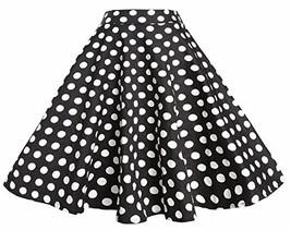 BI.TENCON 1950s Black White Polka Dot High Waist Circle Swing Vintage Sk... - $24.82