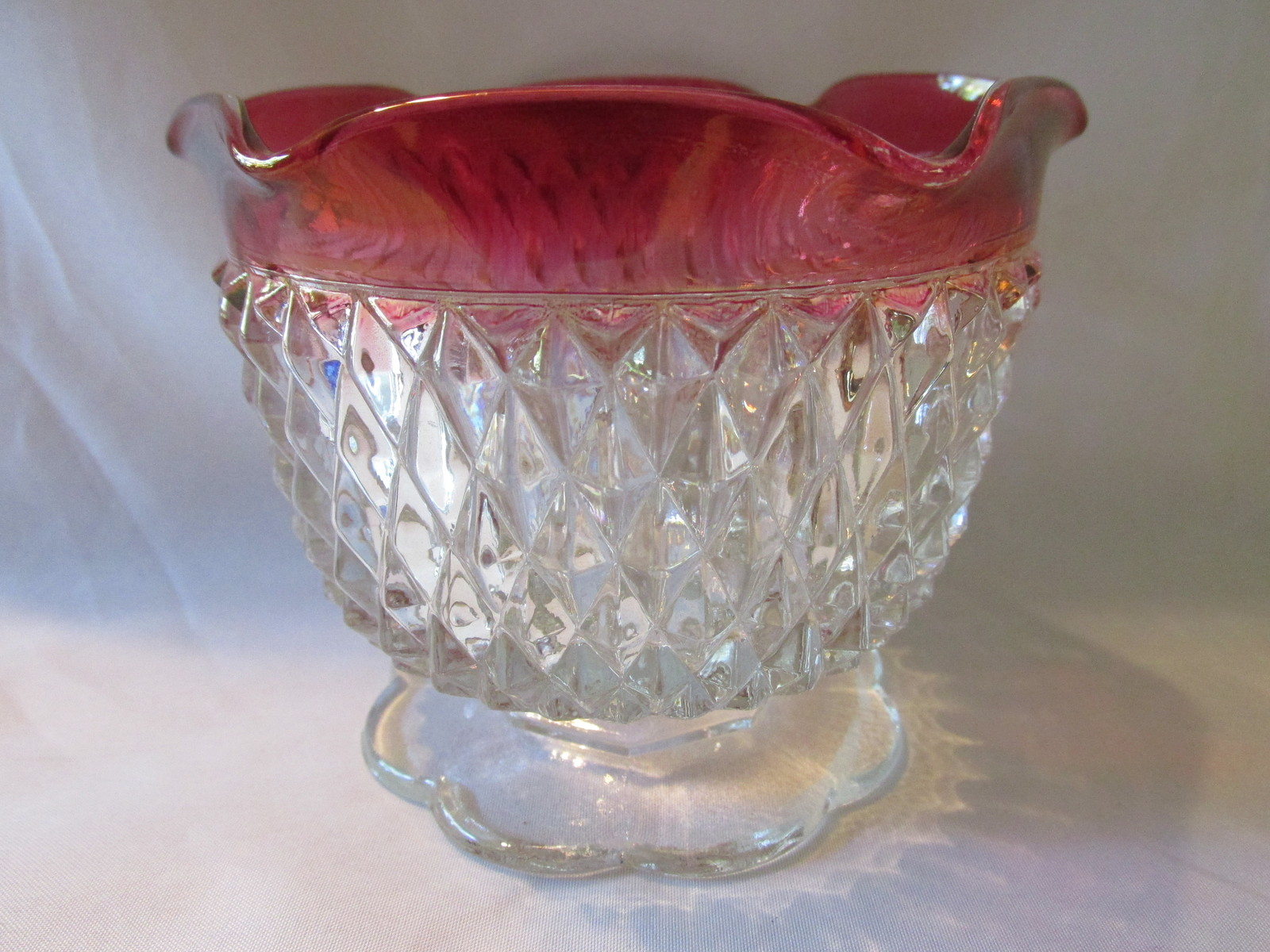 Primary image for Vintage Indiana Glass Diamond Point Ruby Flash Footed Candle Holder