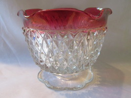 Vintage Indiana Glass Diamond Point Ruby Flash Footed Candle Holder - $9.99