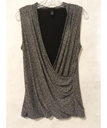 WHBM Wrap Blouse Top White House Black Market Dot Shirt Size M Sleeveles... - $28.00