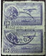 Two 1929 Ten Cents Stamps Mexico D.F. Cancelled - $0.99