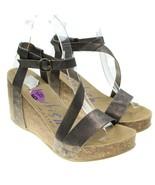 Blowfish Malibu Womens Sz 6.5 Bronze Brown Ankle Strap Cork Wedge Sandals - $18.80