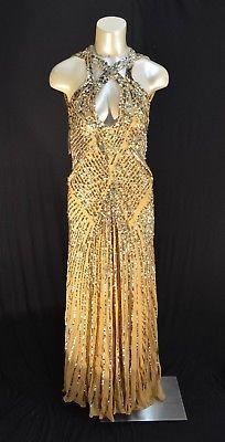 NEW BCBG Max Azaria ATELIER Maxi Dress gown sequin Tan (A#61)