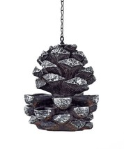 Hanging Silver & Brown Pinecone Design Multi Layer Birdfeeder Cut Out Detailing