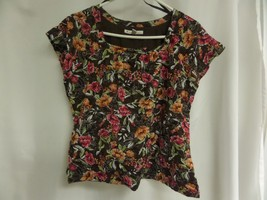 Womens Jm Collection Size Pxl Brown Floral Short Sleeve Top - $18.50