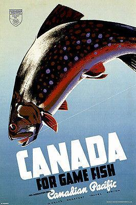 Primary image for 1942 Canadian Pacific - Canada For Game Fish - Travel Advertising Poster