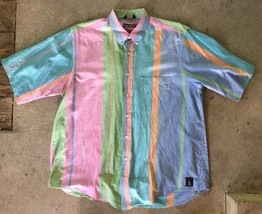 Nautica XL Button Front Shirt Short Sleeve Open Pocket Stripe Pink Green... - $15.83