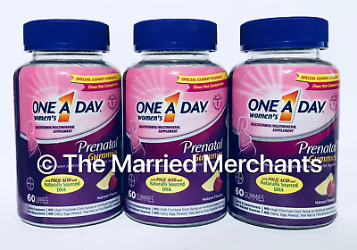 3) One A Day Prenatal Multi Gummies w/ Folic Acid 60 gummies each 5/2022 FRESH! - $23.99