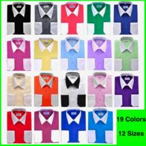 Berlioni Italy Men's Premium Classic White Collar & Cuffs Two Tone Dress Shirt