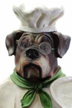 """Vintage Bulldog Dog Chef Butler Statue Glasses Holding Platter Serving Tray 33"""" image 4"""