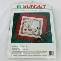 Sunset Counted Cross Stitch Kit #18337 Noel Angel Pillow Christmas New Sealed - $14.25