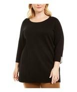 Karen Scott Womens Plus Cotton Contrast Trim Crewneck Sweater Black 2X - $24.02
