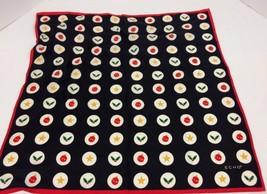 Echo 100% Silk Scarf Christmas Holiday Holly Stars Ornaments  Black Red ... - $16.14