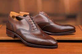 Brown Plain leather Handmade Men's Wingtip Lace up Shoes Custom Shoes for Men - $159.99