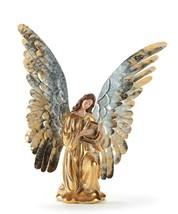 "16.4""  Serene & Stylish Gold Kneeling Angel with Harp Figurine with Metal Wings"