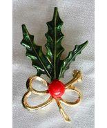 Elegant Gold-tone Enamel Christmas Holly Brooch   - $12.95