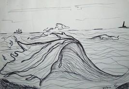 """Original Ink Drawing  """"Wave"""" small no frame contemporary comic cartoon s... - $24.75"""