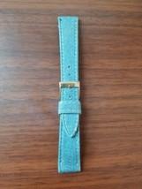 vintage mid century blue denim 18mm watch strap gold buckle - $17.82