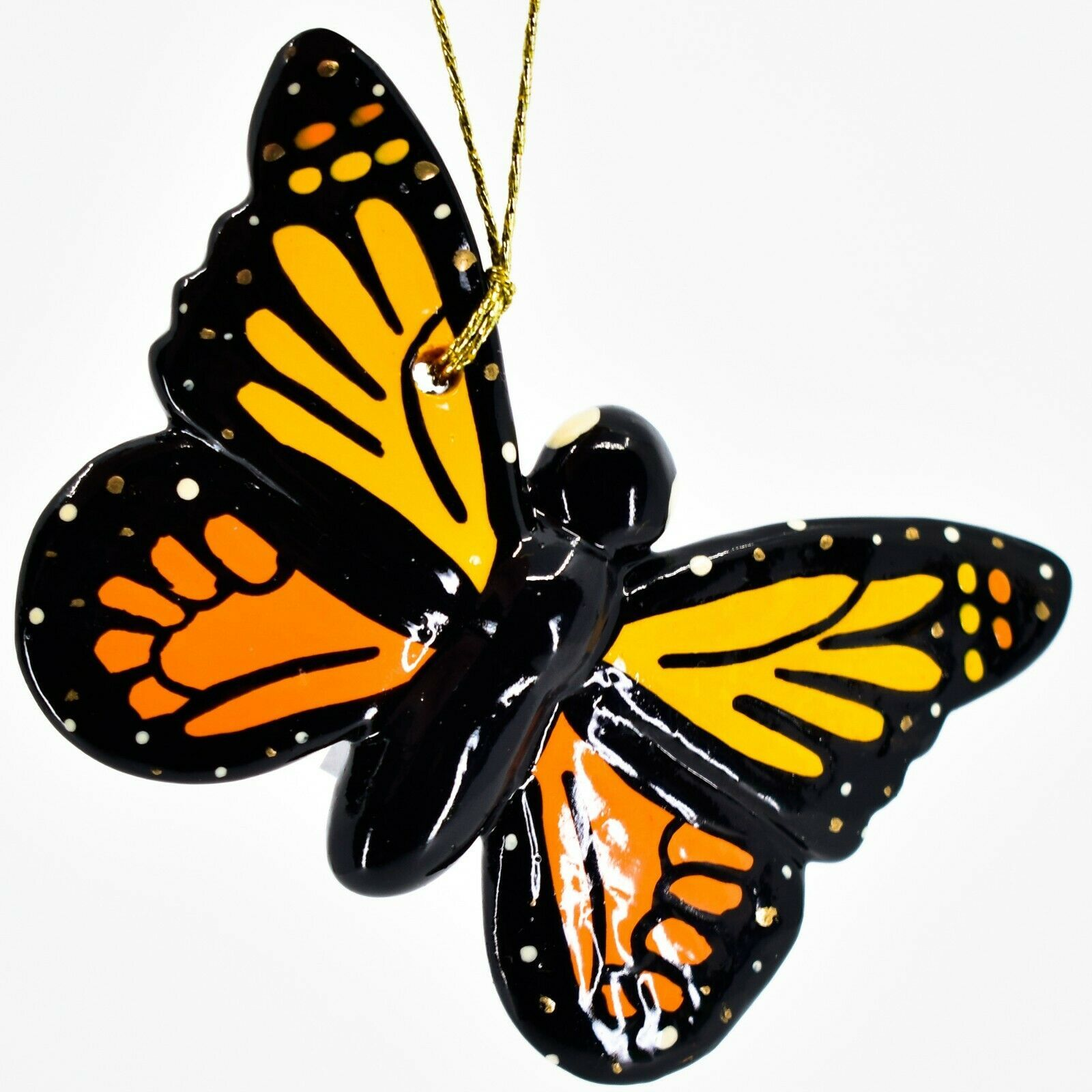 Handcrafted Painted Ceramic Monarch Butterfly Confetti Ornament Made in Peru
