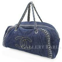 CHANEL Luxury Line Canvas Denim Navy Shoulder Bag A31405 Italy Authentic... - $1,556.35