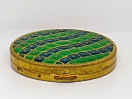 Vintage Avon Matte Gold Green Tone Compact Powder Box - $9.50