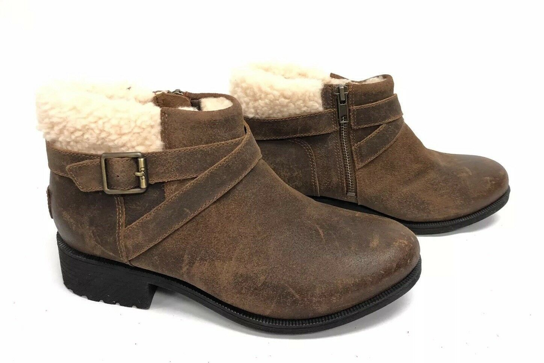 UGG Australia BENSON Buckle Sheepskin Ankle Booties 1095151 Chipmunk Waterproof image 2