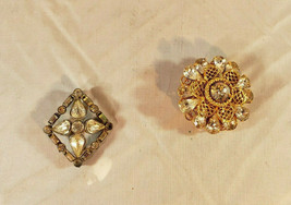 Two (2) Vintage Art Deco Silver and Gold Tone Clear Glass Pin Brooches - $11.87
