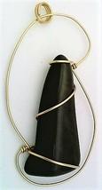 Velvet Peacock Obsidian Gold Wire Wrap Pendant 53 - $41.00