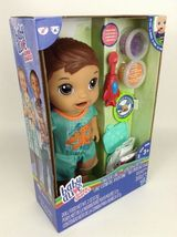 Baby Alive Super Snacks Snackin Luke Brunette Boy Doll with Airplane Spoon New image 5
