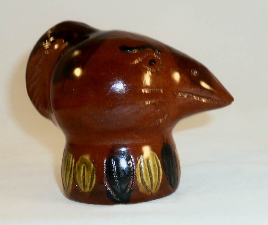 1990 Glazed Redware Penny Bank Brown Colored Bird's Head by Lester Breininger