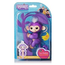 Fingerlings Interactive Baby Monkey Mia Purple w/ White Hair AUTHENTIC W... - $14.99