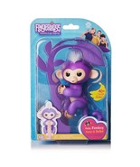 Fingerlings Interactive Baby Monkey Mia Purple w/ White Hair AUTHENTIC W... - $12.99