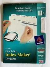Avery 11426 Index Maker Dividers, White,  5-Tab -- 5 1/2 x 8 1/2 ~ Free ... - $5.50