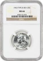 1963 25c NGC MS66 (Type B Reverse) - Washington Quarter - $198.85