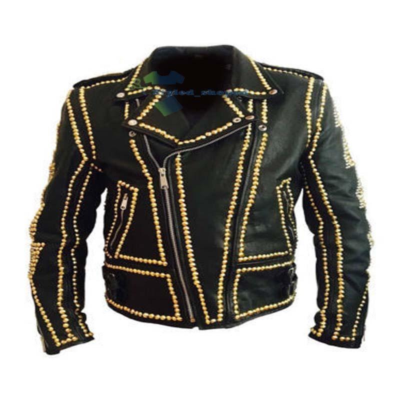 Handmade Men's Biker Black Punk Monster Skull Golden Studded Real Leather Jacket