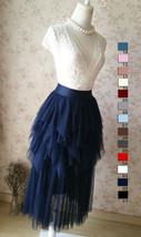 NAVY Full Tulle Prom Skirts Long Prom Skirt Elastic Waist Evening Skirts image 4