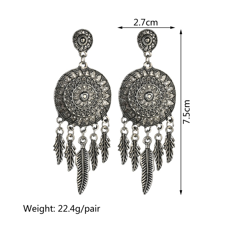 BAHYHAQ - Silver Color Leaf Tassel Huge Alloy Round Stud Earring Ethnic Jewelry