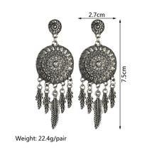 BAHYHAQ - Silver Color Leaf Tassel Huge Alloy Round Stud Earring Ethnic ... - $3.22