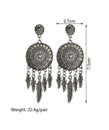 BAHYHAQ - Silver Color Leaf Tassel Huge Alloy Round Stud Earring Ethnic ... - $3.22