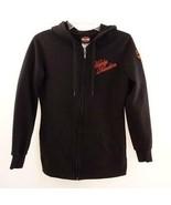 Harley Davidson Embroidered Black Full Zip Hoodie Womens Sz S - $33.72