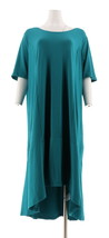 Isaac Mizrahi Petite Elbow Slv Knit Maxi Dress Forest Teal P1X NEW A308002 - $29.68